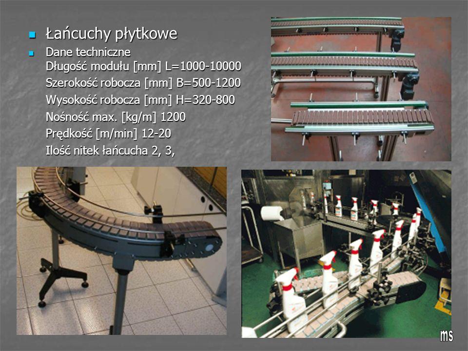 Łańcuchy płytkowe Dane techniczne Długość modułu [mm] L=1000-10000